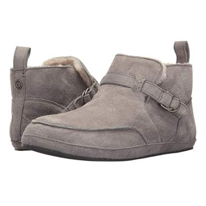 gray suede ankle booty slippers