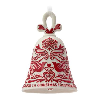 red and white bell christmas ornament