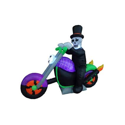 innflatable skeleton riding a morotcycle