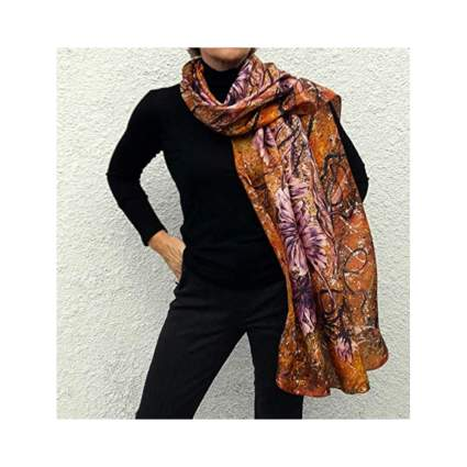 hand painted floral silk shawl scarf