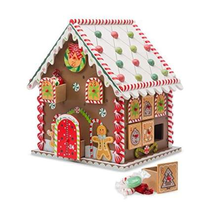 holiday gingerbread house wooden advent calendar