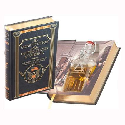 hollow constitution book and flask