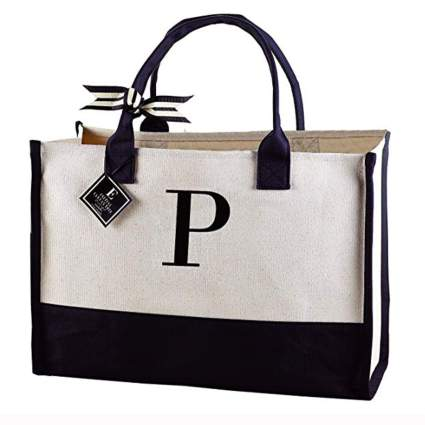 initialed black and white canvas tote