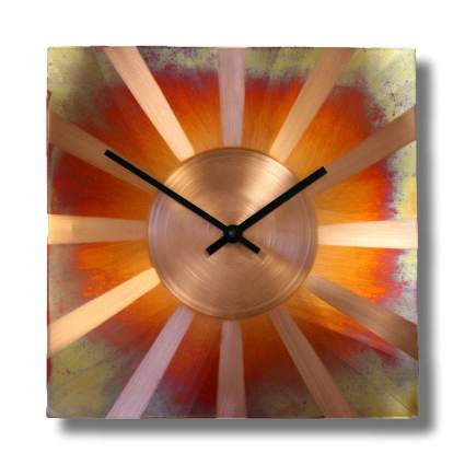 Copper sunburst clock