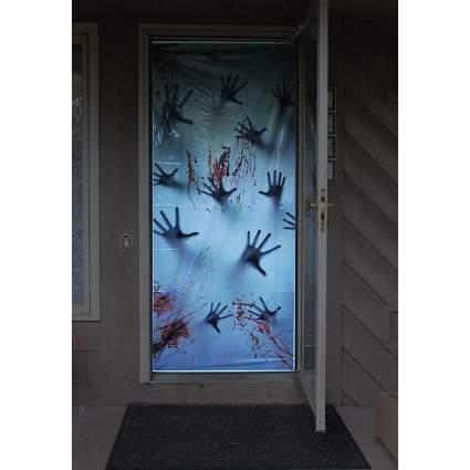 Door with body handprints