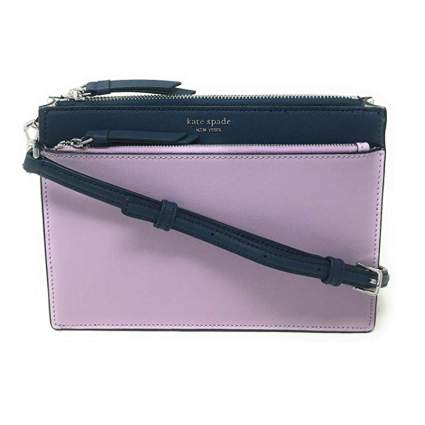 navy and lilac crossbody bag