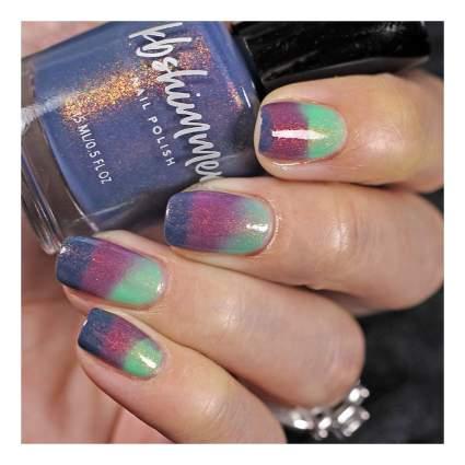 Purple and green thermal nail polish