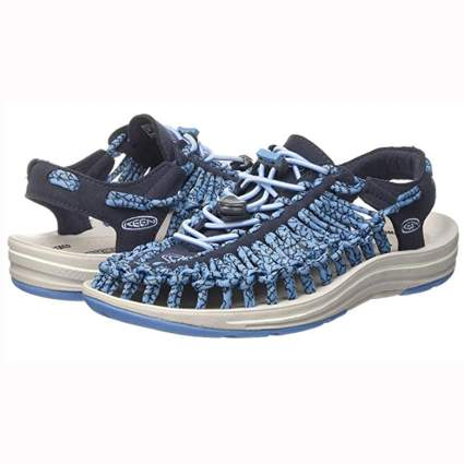 blue woven women's hiking sandals