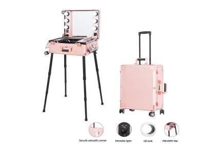 Pink makeup studio in a case