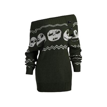 dark green off the shoulder ugly halloween sweater