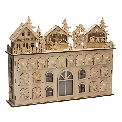 wooden village advent calendar