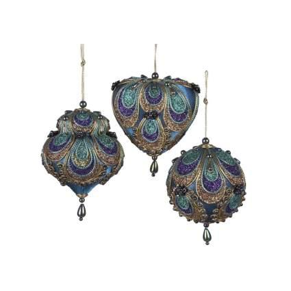 kurt adler peacock inspired ornaments