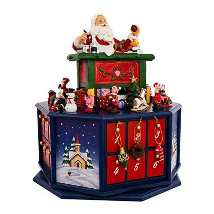 musical santa's workshop wooden advent calendar