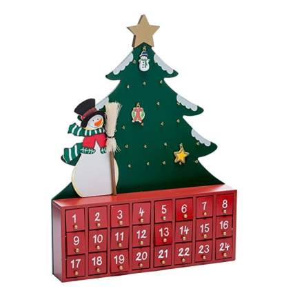 christmas tree and snowman wooden advent calendar