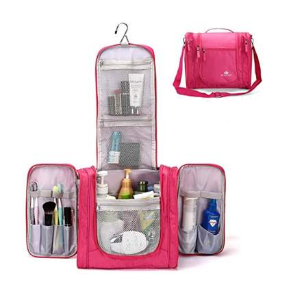 large pink hanging toiletry bag
