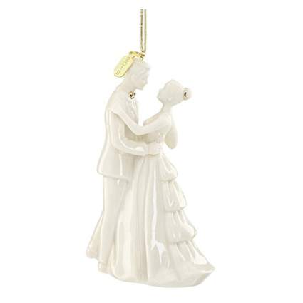 white porcelain bride and groom ornament