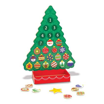 painted wooden christmas tree advent calendar