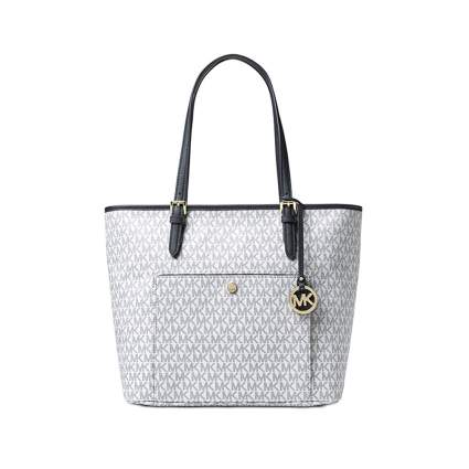 white and navy michael kors leather tote bag
