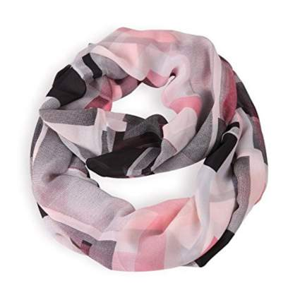 pink and black lightweight infinity scarf