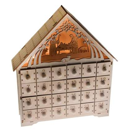 lighted nativity wooden advent calendar