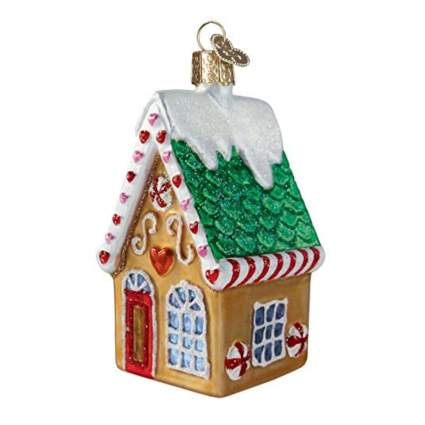 blown glass gingerbread house christmas ornament