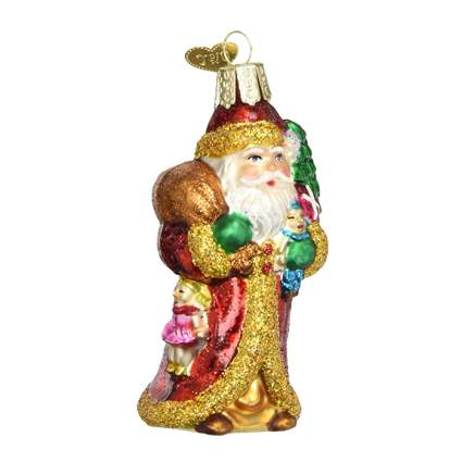 father Christmas blown glass ornament