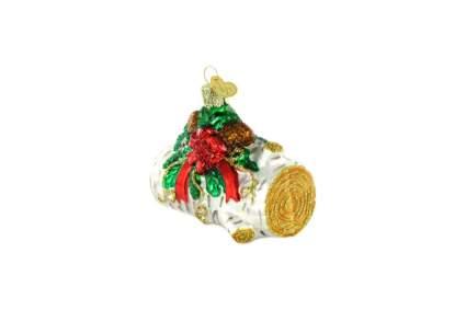 Festive log Christmas ornament