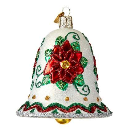 poinsettia bell glass bown ornament