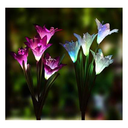 outdoor solar lily shaped lights