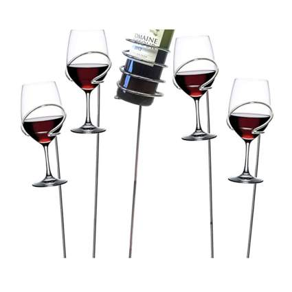 picnic wine bottle and glass holders