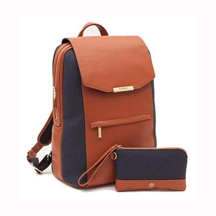 tan and black leather laptop backpack