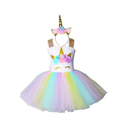 pastel unicorn tutu dress and heaband