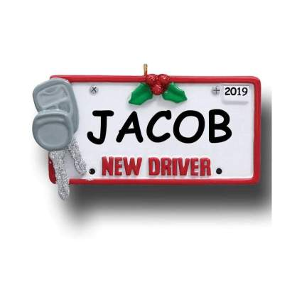 Personalized New Driver License Plate Ornament