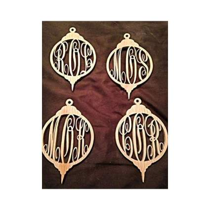 Personalized Wooden Christmas Monogram Ornament
