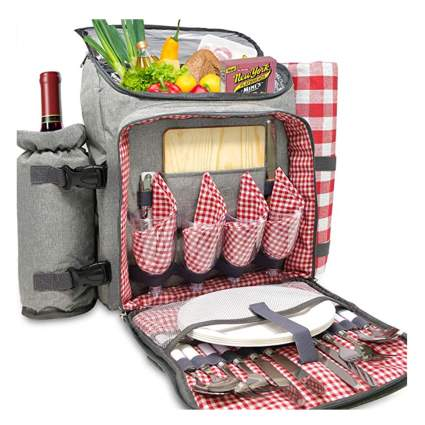 gray picnic backpack with wine holder
