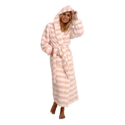 pink and white hooded fleece robe
