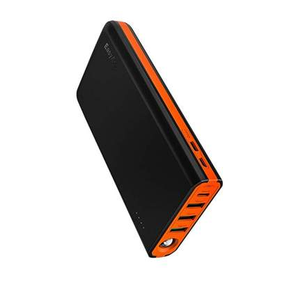 EasyAcc 20000 mAh USB C Portable Charger, 18W Quick Charge Power Bank with 5A Dual Input, 6A 4-Port Output, Fast Recharge External Battery Pack- Black & Orange