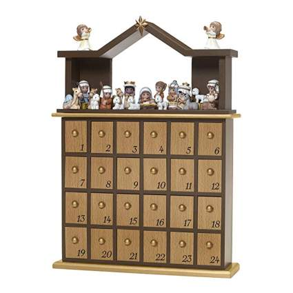 nativity scene wooden advent calendar