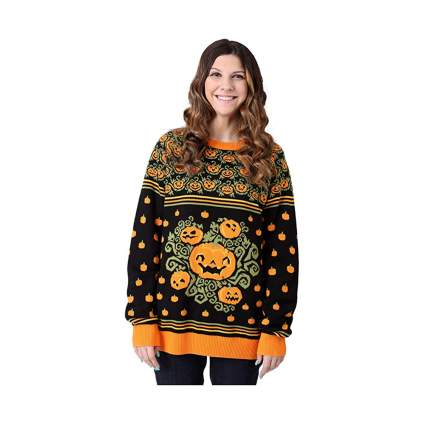 black ugly halloween sweater with pumpkins