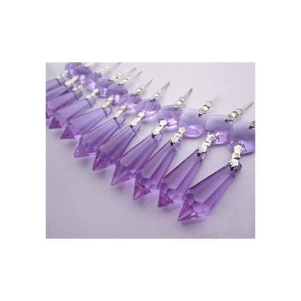 Purple chandelier style icicle crystal ornaments
