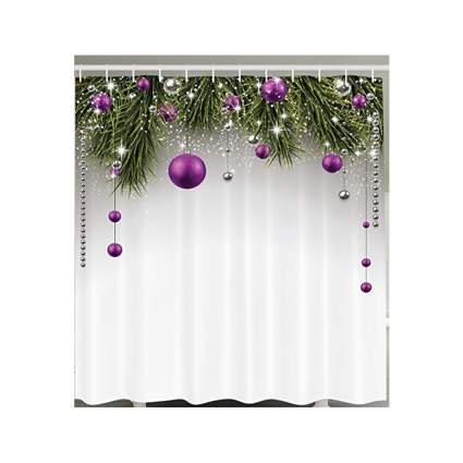 purple christmas ball shower curtain