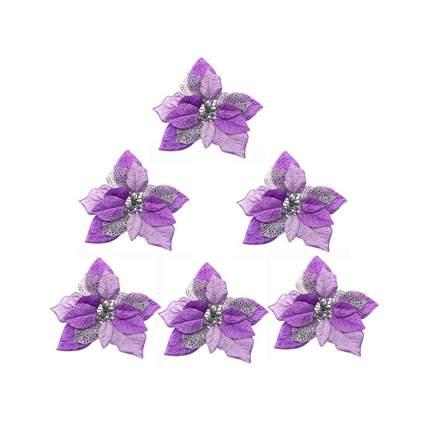 purple poinsettia christmas ornaments
