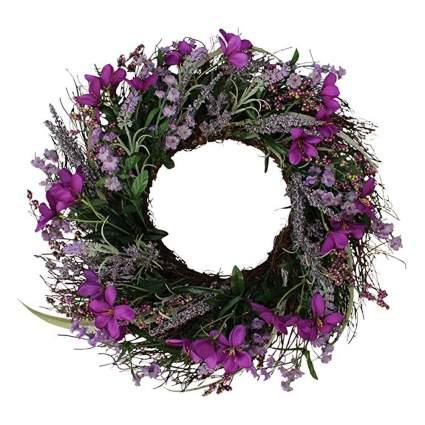 purple silk flower door wreath
