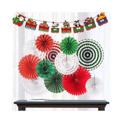Red and Green Christmas Hanging Paper Fans