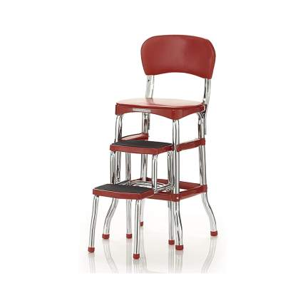 red stepstool chair