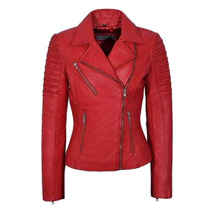 red lambskin moto jacket