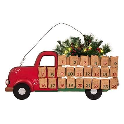 red farm truck wooden advent calendar