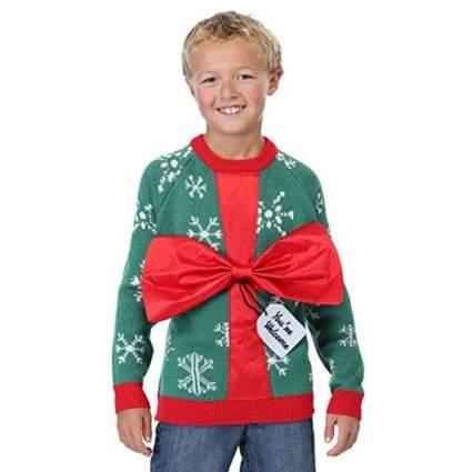 FUN Wear Kid's Present Ugly Christmas Sweater