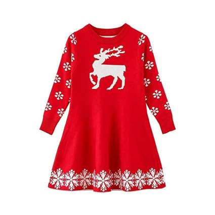 Reindeer Christmas Sweater Dress