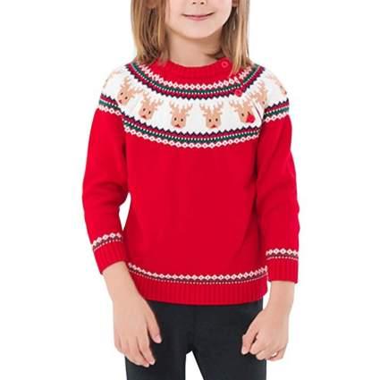 Happy Cherry Kids Knit Sweater Crewneck Christmas Sweater Button-up Cotton Sweatshirt
